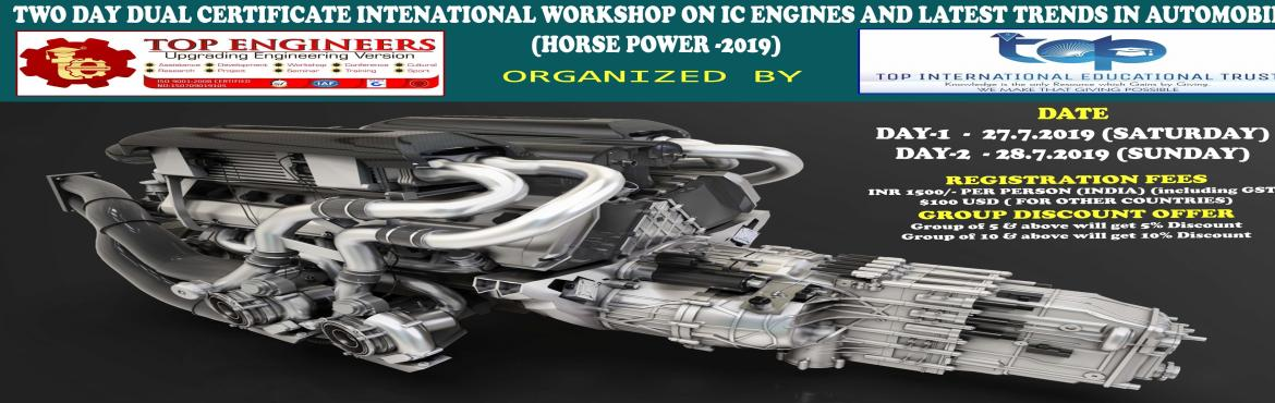 Book Online Tickets for TWO DAY DUAL CERTIFICATE INTENATIONAL WO, Chennai.     AGENDA   DAY-1   BASICS IC ENGINES DISMANTLING ( HANDS ON) IC ENGINES ASSEMBLING ( HANDS ON) AUTOMOBILE SENSORS DEMO IN CAR  DAY-2     •LATEST TRENDS IN AUTOMOBILES      Workshop Terms an