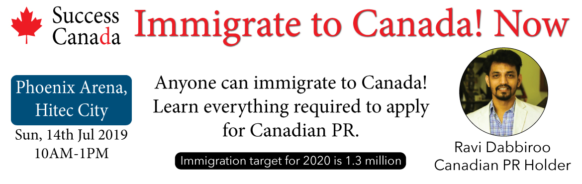 Book Online Tickets for Immigrate to Canada, Hyderabad. Anybody can immigrate to Canada and obtain the Canadian permanent residency. In this seminar, we shall be covering all the aspects involved:  PR process Work permit pros and cons Skills training Opportunities  The seminar will be delivered by Ravi Da