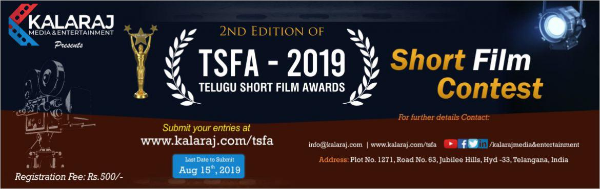 Book Online Tickets for Telugu Short Film Awards 2019, Hyderabad. We are happy to share with you that our Kalaraj Media and Entertainment is organizing Telugu Short Film Awards (TSFA) every year to honor, appreciate and felicitate short filmmakers, cast and crew members with Awards and Rewards. Consecutively for th