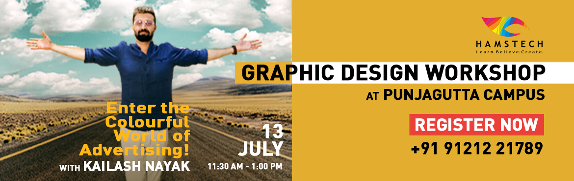 "Book Online Tickets for Learn Graphic Design with Kailash Nayak, Hyderabad. Enter the ""Colourful World of Advertising"" with the 'Guru of Graphics', Kailash Nayak. Come and learn with the designer of award-winning movie posters like Dev-D, Zindagi Na Milegi Dobara, Gangs of Wasseypur, Bahubali, 102 Not"