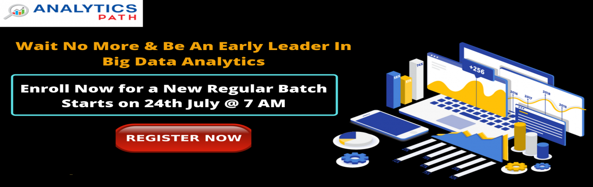 Book Online Tickets for Register For Big Data Analytics New Regu, Hyderabad. Register For Big Data Analytics New Regular Batch By IIT & IIM Experts At Analytics Path Scheduled On 24th July @ 7 AM, Hyd  About The Event- Data Scientist are the Professionals who can analyze and explain complex digital data
