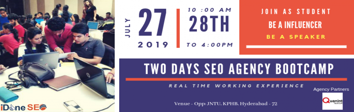 Book Online Tickets for Two Days SEO Agency Bootcamp, Hyderabad.  Are you looking real time SEO Work Environment in Digital Marketing. This Workshop is beneficial to all students , irrespective of their courses and, working professionals, Startups, Businesses. Get Practical SEO Training with sitting an Agency Cult