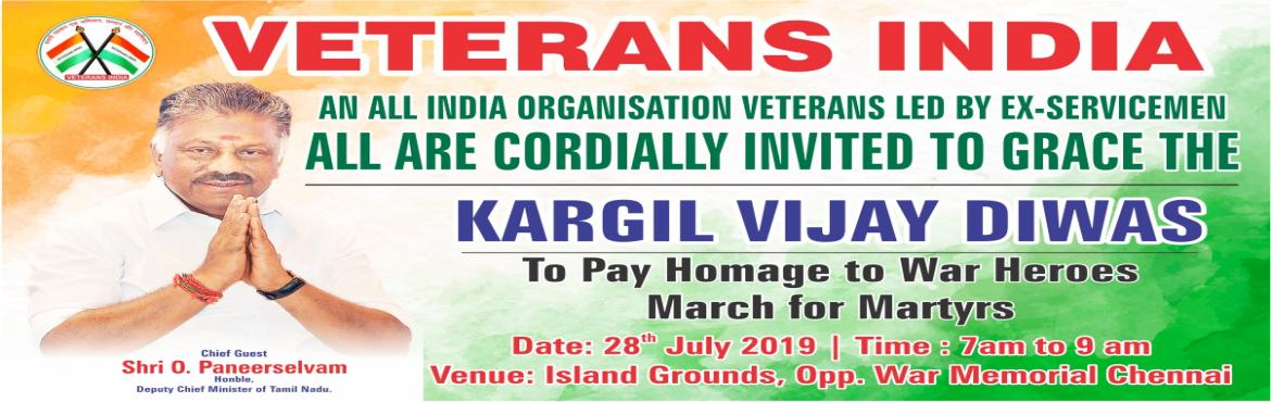 Book Online Tickets for Kargil Vijay Diwas, Chennai.  VETERANS INDIA AN ALL INDIA ORGANISATION VETERANS LED BY EX-SERVICEMEN  KARGIL VIJAY DIWAS The Year 2019 marks the 20th anniversary of victory in \'Operation Vijay\', popularly known as the \'Kargil War\'. The Kargil War is a saga of stron