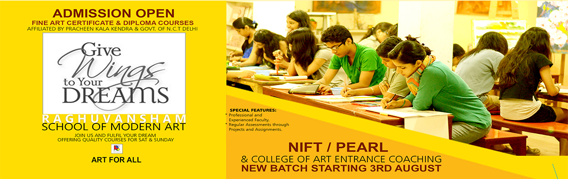 Book Online Tickets for Admission open for Fine Art, NIFT, PEARL, Delhi.  Admission open for new batches for seniors   Certificate and Fine Art Diploma Courses affiliated by Pracheen Kala Kedra and govt of nct delhi  For Fine Art, Drawing and Painting, Fashion Sketching, Portrait, Pencil shading, Canvas