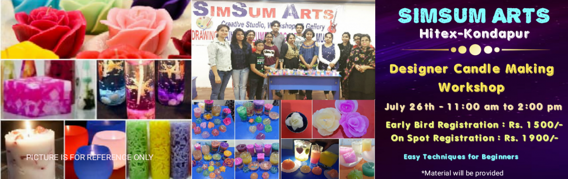 Book Online Tickets for Designer Candle Making Workshop, Hyderabad. Register for this Designer Candle Making Workshop and join us to learn the art of making beautiful and decorative candles. You will learn the basics and advanced techniques of candle making with different waxes which will help you to become a p