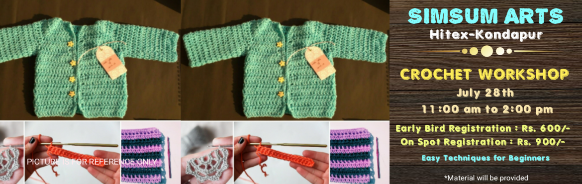 Book Online Tickets for Crochet Workshop, Hyderabad. Register for this Crochet Workshop and join us to learn the different crocheting techniques, stitches, and knots. You get to take your master piece home.All the material will be provided for. Just walk in with a confident smile and walk b