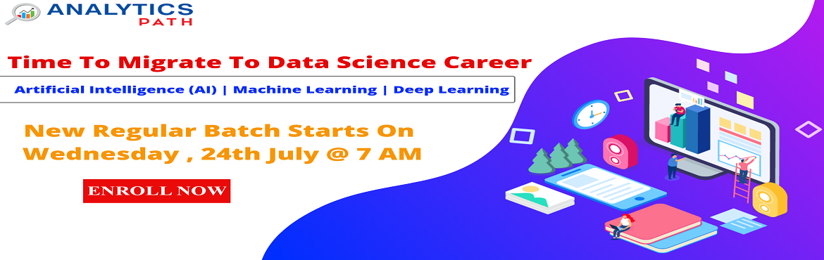 Book Online Tickets for Register For Data Science Training New R, Hyderabad. Register For Data Science Training New Regular Batch By Experts From IIT & IIM, Analytics Path From 24th July, 7 AM, Hyderabad. About The Event- The exponential growth in the usage of data has lead to the rise in the demand for a distinct analyti