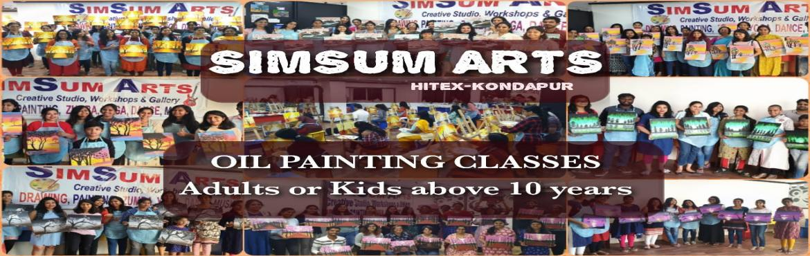 Book Online Tickets for Oil Painting on Canvas Classes, Hyderabad. SimSum Arts Gallery and Studio conducts Oil Painting on Canvas Classes.  Register and learn different techniques of oil painting on canvas including color shadings, brush strokes, detailing, and many more. Easy step-by-step guidance from basics