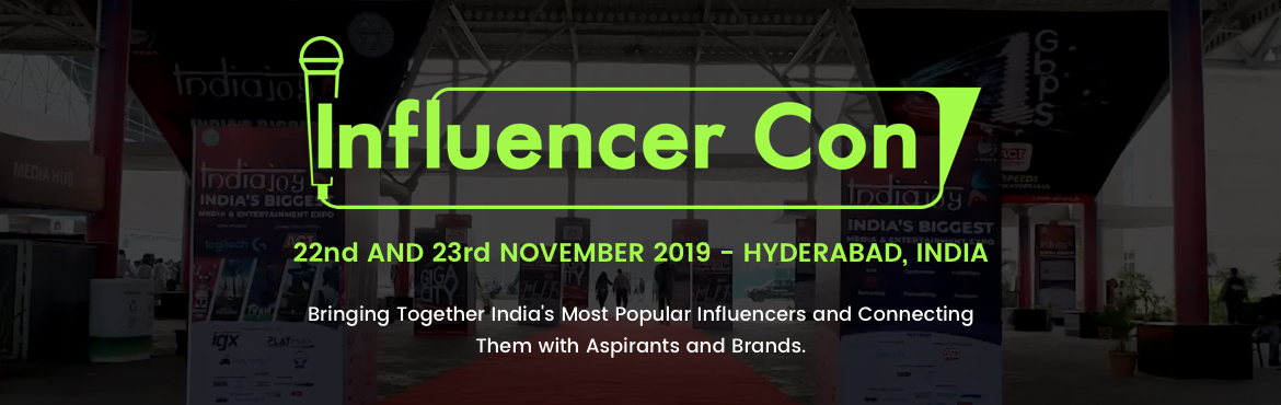 Book Online Tickets for InfluencerCon 2019, Hyderabad. InfluencerCon is a one of its kind event that brings together popular influencers across the globe. It provides a platform for these influencers to interact with aspiring influencers and bloggers and share trips and tricks to be better at the trade.