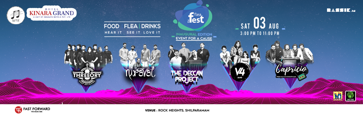 Book Online Tickets for Flea Fest Hydrabad - Event for a Cause, Hyderabad. Live musical event, where there will be 5 most popular bands from Hyderabad playing back to back at one venue with flea, food and drinks.     Headliners:-    Threeory: Threeory started with 3 musicians, Mark – the pianist, S