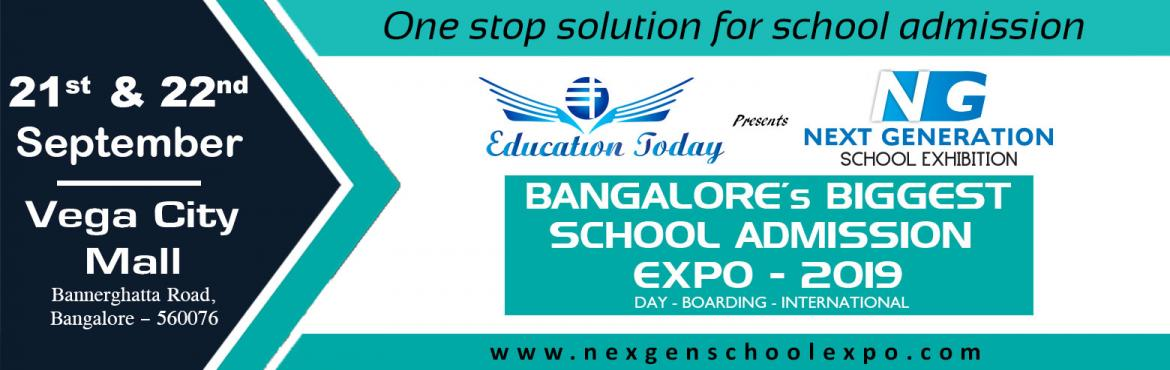 Book Online Tickets for NexGen School Admission Expo - 2019, Bengaluru. It is a venture of VAK Education Today which will for the first time bring the eminent names in the education industry under one roof. NexGen School Expo which will showcase top brands under one roof where the parents get a chance to meet the s
