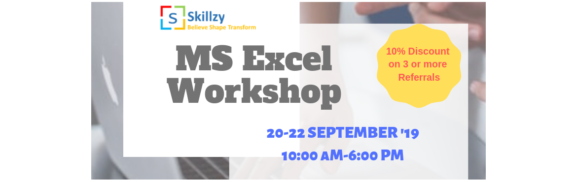 Book Online Tickets for MS Excel Workshop 3, Bengaluru. Dear Students, Why spend so much elsewhere when you can learn MS EXCEL (hands-on) by making an affordable investment…We have an EXCLUSIVE OFFER for you @ just Rs 2400/- + GST for all 3 days.  Cherryskillz Learning Private Limited is conducting