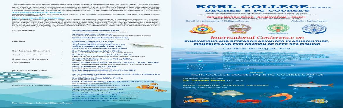 Book Online Tickets for International conference, Bhimavaram.  International Conference on Aquaculture and Fisheries in 2019 that brings together a unique and International mix of experts, like aquaculture engineers, researchers and decision makers both from academia and industry across the globe to excha