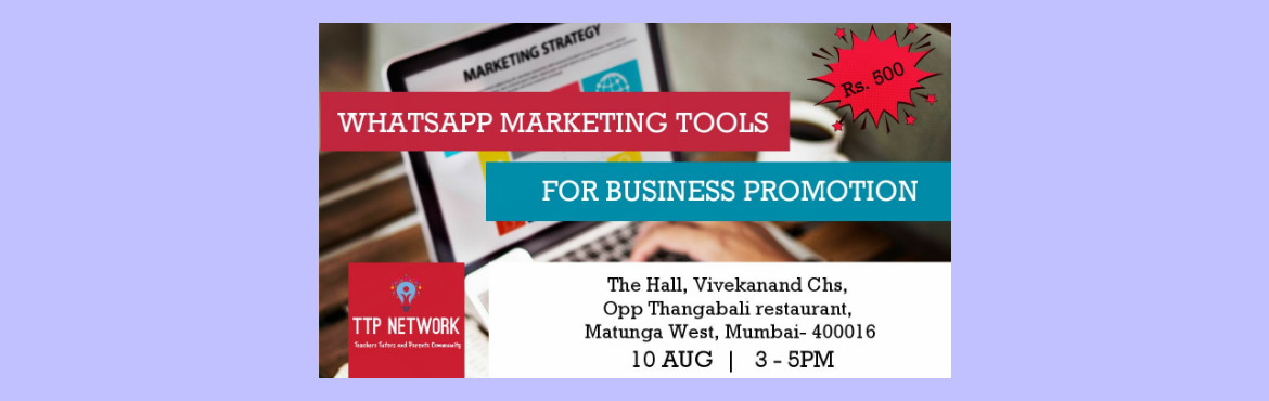 Book Online Tickets for WhatsApp Marketing Workshop, Mumbai. Whatsapp Workshop By Snehal Agrawal  Bringing you a super practical and highly effective WhatsApp Marketing for Business Promotion.   It\'ll be covering topics like: • how to use whatsapp effectively to reach out to your students/clien