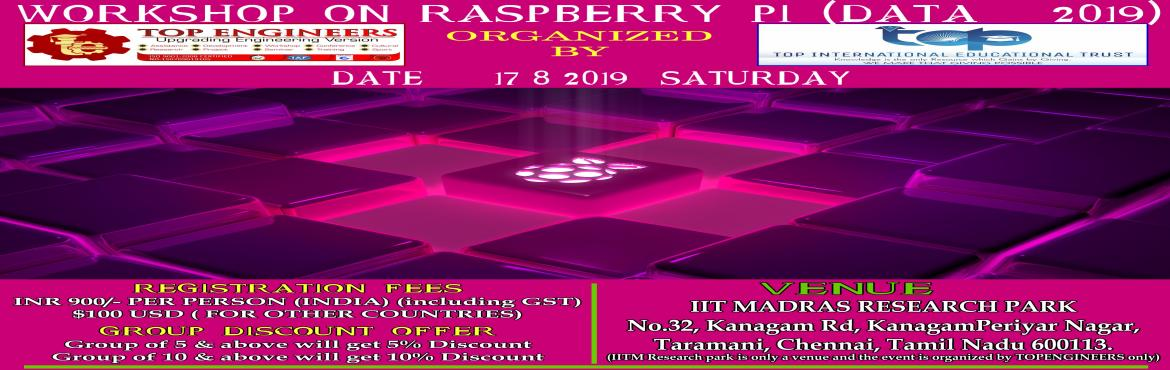 Book Online Tickets for WORKSHOP ON RASPBERRY PI (DATA - 2019), Chennai.     AGENDA   Introduction to Raspberry PI Setting up Raspberry PI Operating System (Walk through) Introduction to Sensors & Actuators & Interfacing with RaspberryPi Hands on Programming in gathering Sensor Data using NodeRed  Note: Bring your