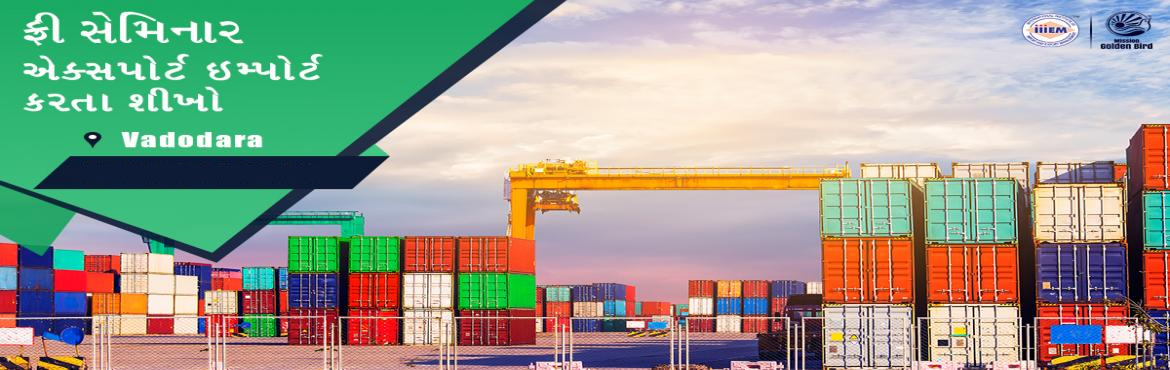 Book Online Tickets for Free Seminar on Export Import at Vadodar, Vadodara. TOPICS TO BE COVERED:- OPPORTUNITIES in Export-Import Sector- MYTHS vs REALITIES about Export- GOVERNMENT BENEFITS ON EXPORTS- HOW TO MAXIMIZE YOUR PROFITSAddress: 4th Floor, Arise House, Nr. Shagun residency, O. P. Road