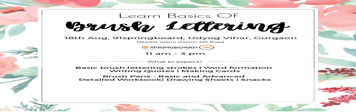 Book Online Tickets for Learn Basics of Brush Lettering, Gurugram. This is a beginner-friendly session. So you can kick start your journey from here. Everything will be provided. Yes, EVERYTHING! From brush pens and workbook to paper and pencil. All you need to do is to come for a session and go back with skill. In