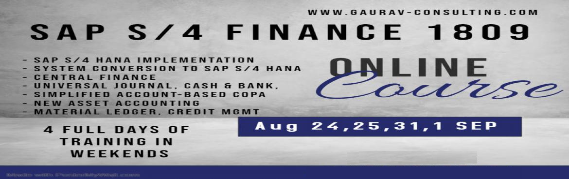 Book Online Tickets for SAP S/4 HANA Finance Certification 4 day, Pune. Training Venue: Kharadi, Near WTC. Trainer Profile: https://www.linkedin.com/in/vikram-fotani-pmp-525a42119/ Course Duration: 4 Days (2 Saturdays & 2 Sundays) From 9 AM to 6.30 PM Course Material: Certification PDFs/ 300+ Cert