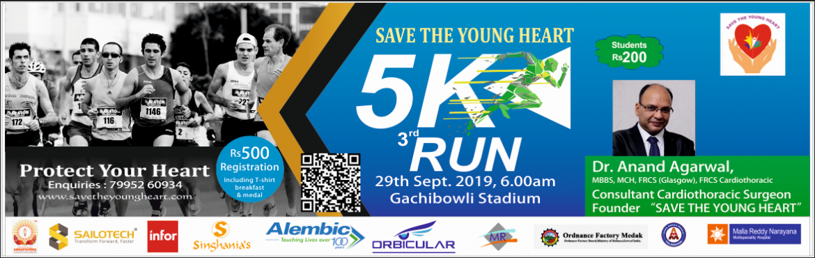 Book Online Tickets for Save The Young Heart | 5K Run - 2019 , Hyderabad. An increase in heart disease in the youth as a result of rapidly changing lifestyle is leading to either sudden cardiac death or debilitating heart injury incapacitating patient's life.Save The Young Heart is conducting its 3rd Edition 5K Run.