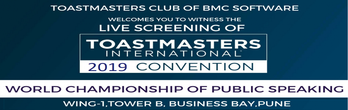 Book Online Tickets for Live Screening of Toastmasters Internati, Pune. This event is  Live Screening of Toastmasters International World Championship of Public Speaking 2019 for Toastmasters Community and guests in Pune City.   Each year, the Toastmasters International Convention culminates in the final r