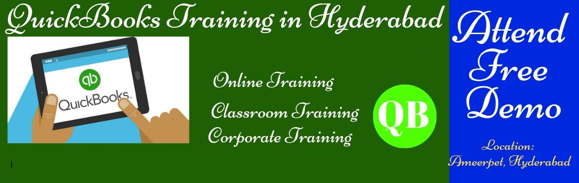 Book Online Tickets for QuickBooks Online Training form India, Hyderabad. 11 AM to 6PM IST About The Event Hi, Greetings toQuickBooks Trainingseekers...... Good news to those who wanna become an entrepreneur/intended to start their own business/e-commerce/. We are going to the QuickBooks Training in Hyder