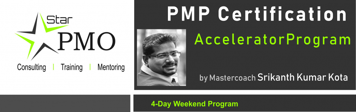 Book Online Tickets for StarPMO PMP Certification Accelerator Pr, Pune. StarPMO has announce dates for its flagship PMP Certification Accelerator Program at Hyderabad.  Workshop Dates:  12th, 13th and 19th, 20th October\'19 Location: B-4, Sukhwani Park, North Main Road, Koregaon Park, Pune  \'Limited Number of Seats