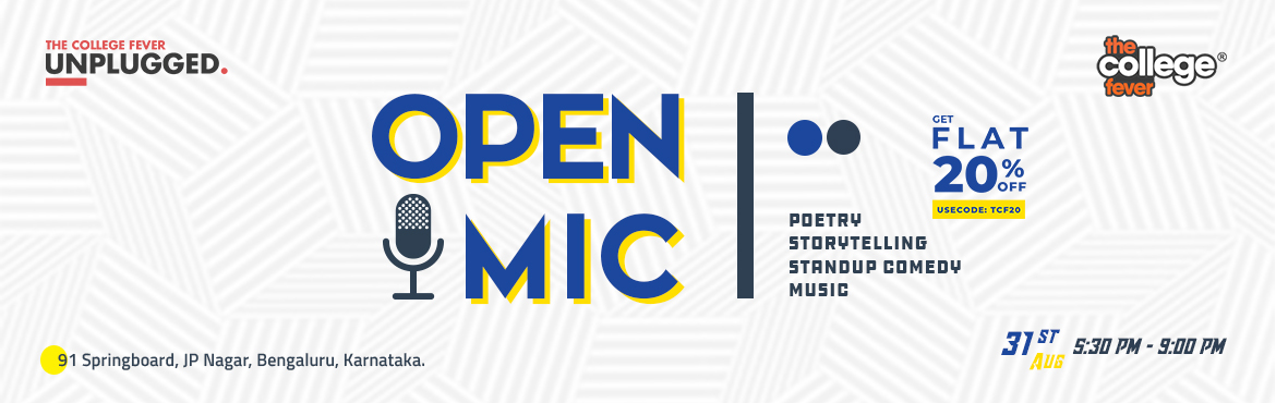 Book Online Tickets for Unplugged 1.0 - Open Mic by TCF, Bengaluru. Looking for a stage with spotlight? With Spotlight at TCF,we got the Lights, Camera, Action.You got Music, Dance, Poetry, Stand-up or any other form of art?The stage is set, so all you dancers, singers, writers, come along!What bett