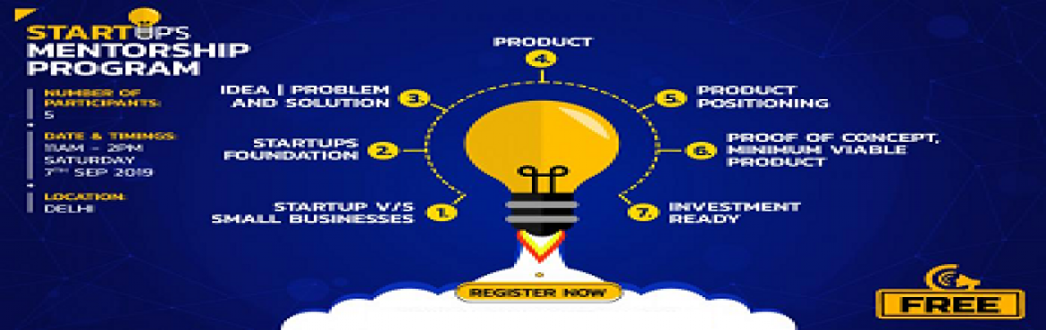 Book Online Tickets for Startup Mentorship Program (SMP) by Laks, New Delhi.  STARTUP\'S MENTORSHIP PROGRAM 1. Startup v/s Small Business2. Startups Foundation3. Idea / Problem / Solution4. Product5. Product Positioning6. Proof of Concept / Minimum Viable Product7. Investment Ready