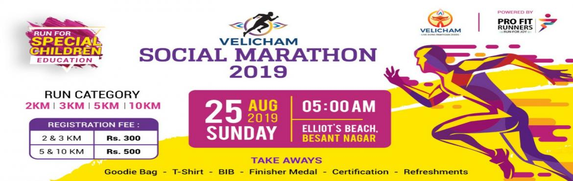 Book Online Tickets for Velicham Social Marathon 2019, Chennai.   RUN FOR SPECIAL CHILDREN EDUCATION Let us run together to bring a change in Special Children\'s life by educating them. This run is to raise funds to support poor disabled students to pursue their education. The event is organised by Velicham