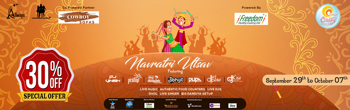 Book Online Tickets for Navratri Utsav 2019 at Country Club, Hyderabad. Asia\'s Biggest Country Club Navratri Utsav is all set to open its doors to our beloved Hyderabadis.  Artist Bios :  DJ Pratap: - He is the one of the finest Bollywood DJ.  DJ DUDA: - DUDA was one of the Oldest DJ in PUNE. He was ve