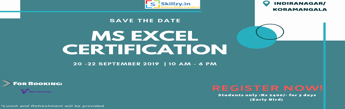 """Book Online Tickets for MS Excel Workshop 7, Bengaluru. Dear Members, I personally invite you to come experience """"MS EXCEL WORKSHOP"""" on 13 September 2019 in Bangalore. This workshop is for students. Save the date in your calendar never miss this opportunity.  Please fill-up the form below for"""