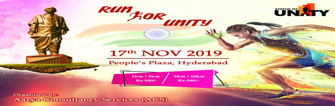 Book Online Tickets for Run For Unity 2019, Hyderabad.  RUN FOR UNITY National Unity Day (or Rashtriya Ekta Diwas) was established in India in 2014, when the government proposed celebrating the birthday anniversary of Vallabhbhai Patel, a prominent Indian statesman and leader. This RUN FOR UNITY ev