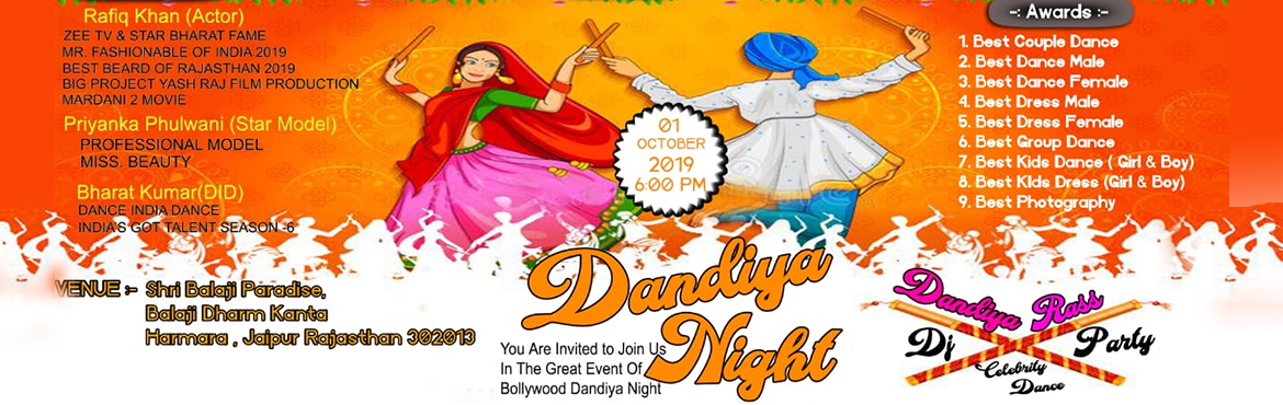 Book Online Tickets for D7 Dandiya Night , Jaipur. *D7 Dandiya Night  on 1st october 2019*       Join us for Dandiya Night 2019 with Tiktok celebrity Ratan Chouhan & Star Model Priyanka Phulwani  & DJ D7 On 1st October 2019 at Shree Balaji Paradise,Balaji Dharam Kanta
