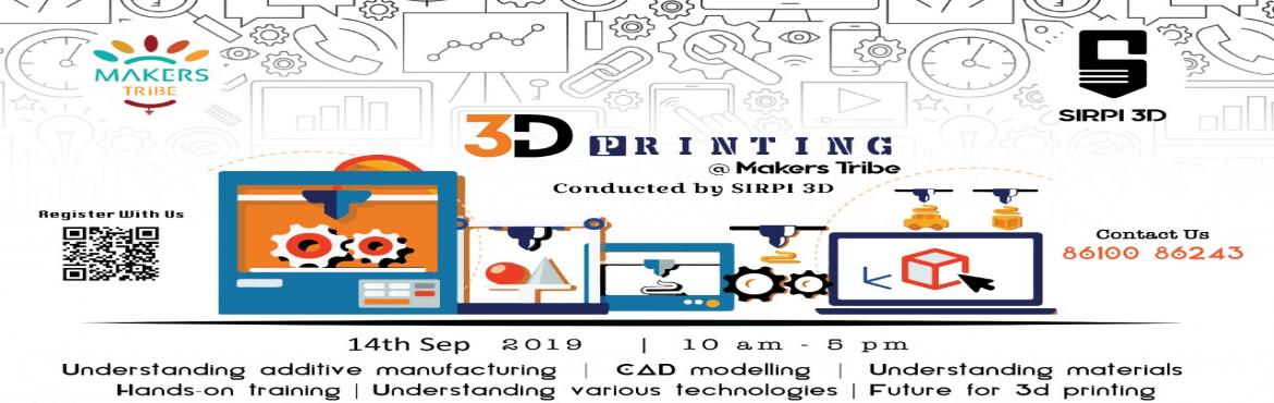 Book Online Tickets for One Day Hands-on Workshop on 3D Printing, Chennai.  This is a one day Workshop on 3D printing - a complete Hands-on session.**You can take home what you make**3D printing technology is an emerging technology used by large industrial companies for the purpose of prototyping. 3D printing plays a v