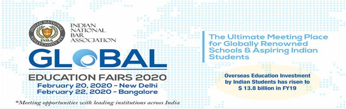 Book Online Tickets for INBA Global Education Fairs 2020, New Delhi.  INBA Global Education Fairs 2020 aims at providing the perfect platform for scores of aspiring Indian students on one hand, and globally reputed and accredited colleges and universities from around the world - to meet and explore mutually and academ
