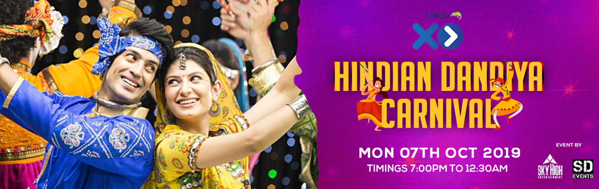 Book Online Tickets for Hindian Dandiya Carnival , Bengaluru. Hindian Dandiya Carnival - Indigo XP Garba and dandiya are a huge part of Navaratri, and if you\'re the sort who likes costuming up and shaking a leg all night, then we\'ve got you covered. Here is lit dandiya night party that you should be at,