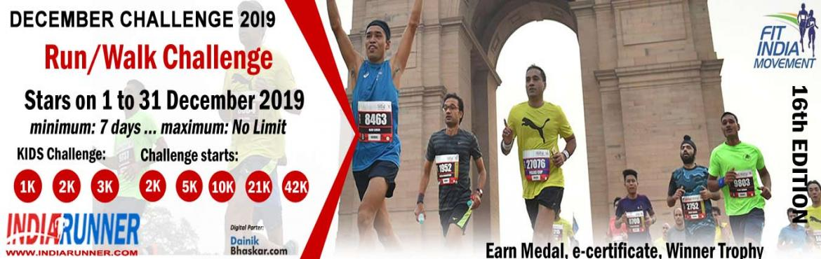 Book Online Tickets for India Virtual Running/Walking December C, India. India Virtual Running/Walking DecemberChallenge 2019 Run/Walk/Cycling Anywhere…Anytime…Anyone…   PAY only 300 to Get Medal/Certificate/Trophy and FREE T-shirt (Who Purchased Quarter Challenge Ticket) October Running C