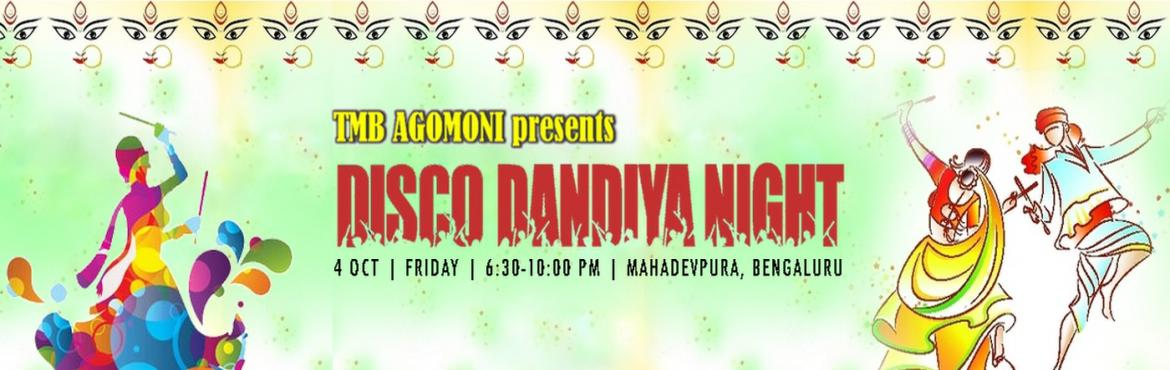 Book Online Tickets for AGOMONI DISCO-DANDIYA NIGHT, Bengaluru. Brief Description: Agomoni - Durga Puja Committee is organizing a unique blend of Dandiya and Disco night in a remarkable scale, suitable for all age groups. Background: Dandiya dances are traditionally performed during festive occasions like N