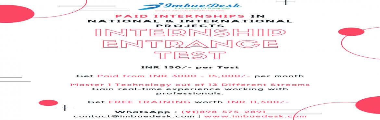 Book Online Tickets for Paid Internship Program by ImbueDesk, Hyderabad.      Internship Test - Program to get \