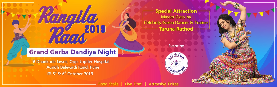 Book Online Tickets for Rangila Raas 2019 Grand Garba Dandiya Ni, Pune. Festive atomosphere,Garba on dhol, special lights, here we bring you THE FESTIVAL OF NIGHTS. Kem cho Pune...? After completion of 3 successful year of Garba Dandia Nights, we are back with season 4 grand garba dandiya night \'Rangila Raas 2019\'.  Ev