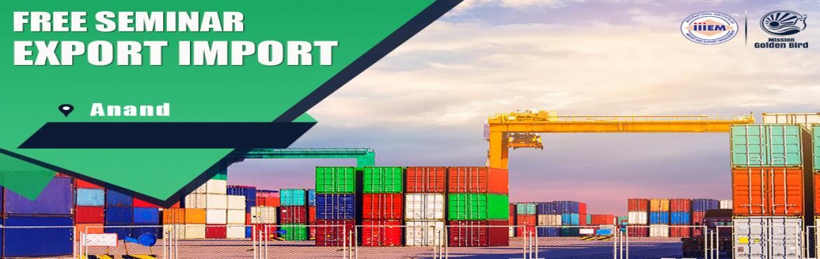 Book Online Tickets for Free Seminar on Export Import at Anand, Anand. TOPICS TO BE COVERED:- OPPORTUNITIES in Export-Import Sector- MYTHS vs REALITIES about Export- GOVERNMENT BENEFITS ON EXPORTS- HOW TO MAXIMIZE YOUR PROFITSAddress:-Hotel Dolphin, NearPanchal road, annand vidhyanagar Road, Anand 388001