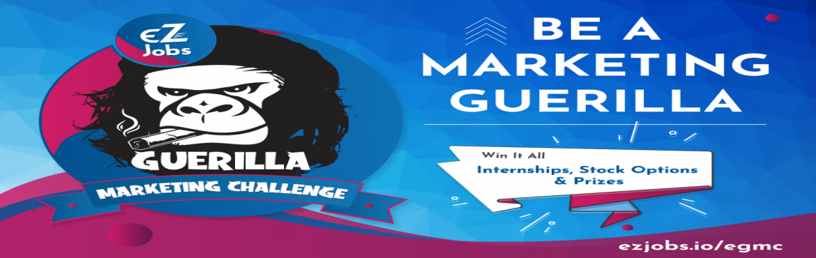 Book Online Tickets for EZJobs Guerilla Marketing Challenge  ( R, Hyderabad. The #EGMC2019 event starts and ends on September 29, 2019.  We (EZJobs) are a tech-startup from Hyderabad and are organizing an a Guerilla Marketing Challenge at T-HUB IIIT Campus, Hyderabad 29th September where teams from top colleges like IITs