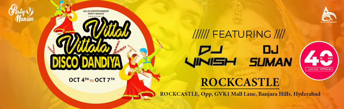 Book Online Tickets for Vittal Vittala Dandiya at Rock Castle, Hyderabad. Navratri is a dance event celebrated with lots of dancing and joy. This is a great opportunity to dress in colorful dresses, catch up with old friends, make new ones, taste amazing Indian foon and have awesome fun. Book your passes now!