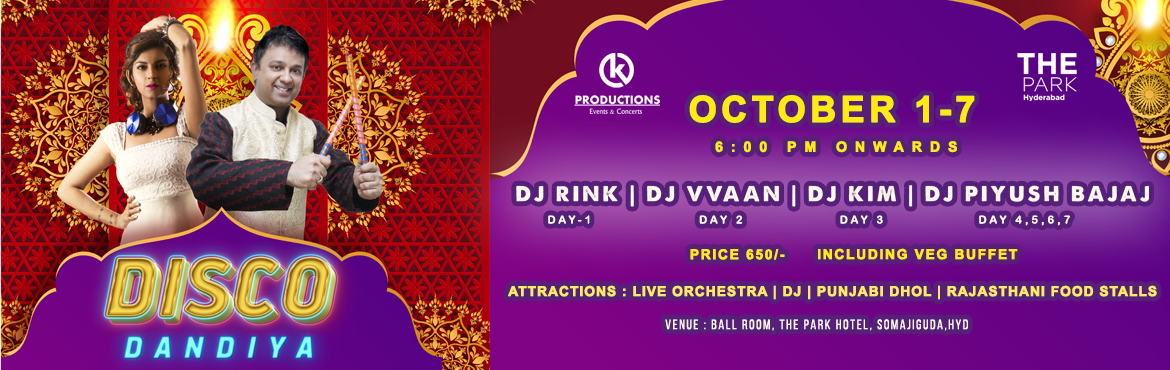 Book Online Tickets for Disco Dandiya at The Park Hyderabad, Hyderabad. Navratri is here, and it is time for a massive Dandiya party! Grab your Dhandiya sticks and groove to the energetic Dandiya beats of the DJ  with  Live Punjabi dhol as the night roars unlimited fun! Witness the most happening Navratri at Th
