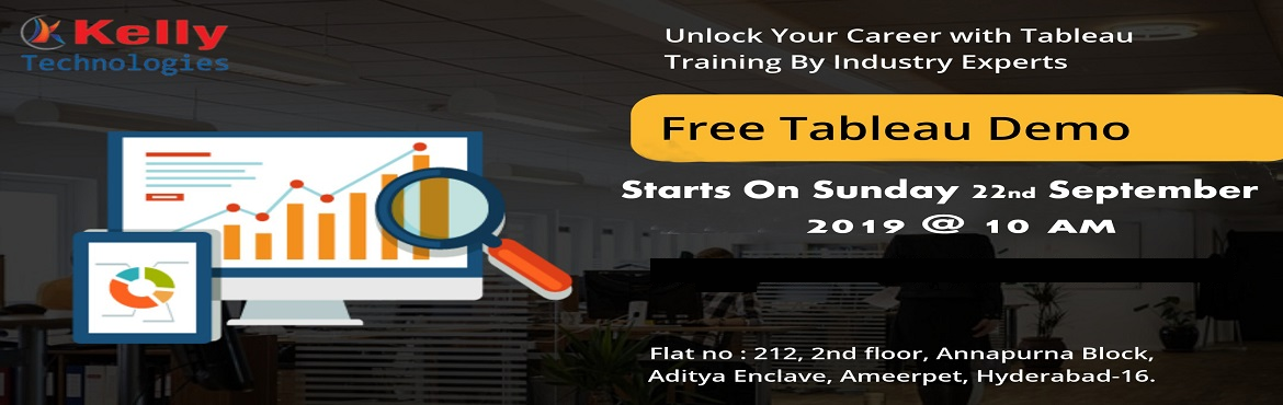 Book Online Tickets for Attend Free Tableau Demo on Careers At T, Hyderabad. Tableau is considered to be a revolutionary field of technology providing effective opportunities for leading a successful career in this field. Kelly Technologies is now offering a free demo on Tableau on 22nd Sep, 10 AM. Overview of Tableau F