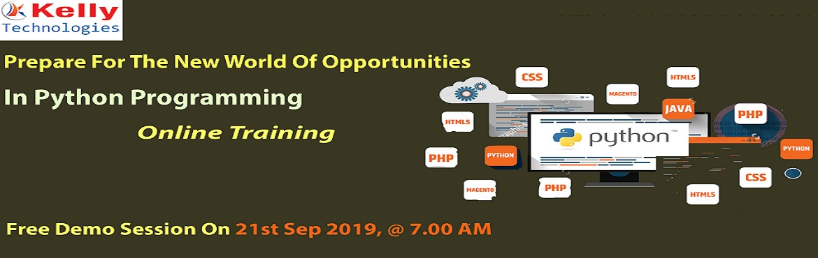 Book Online Tickets for Register For Free Workshop On Python Onl, Hyderabad. Register For Free Workshop On Python Online Course 21st Sep 2019 at 7.00 AM (IST), At Kelly-Interactive Session With Python Experts, Hyderabad About The Workshop: Planning at making a career in the advanced profession of Python Online Course? Work to