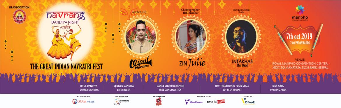 Book Online Tickets for Navrang Dandiya Night, Bengaluru. Bangalore be ready for Great Indian Dandiya Fest Enjoy the most memorable night complemented with the ultimate Navratri experience.  We celebrating on special day of Navratri which is 7th Oct, Monday from 6 pm to 11.30 pm.  Dazzling dress