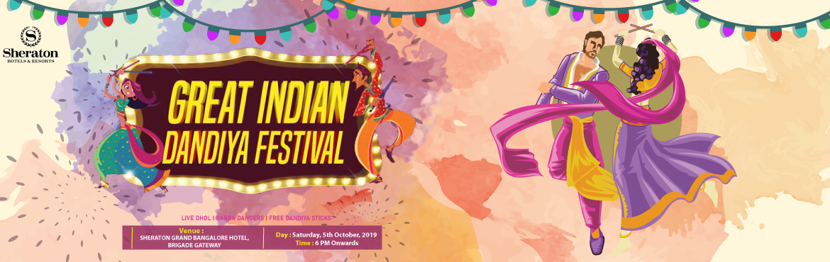 Book Online Tickets for The Great Indian Dandiya Festival 2019, Bengaluru. Prepare yourself to Celebrate the Magic Of *The Great Indian Dandiya Festival* at the Luxurious Sheraton Grand Hotel Be a part of the biggest Dandiya Celebration in Bangalore with a mega stage and sound, and guaranteed top notch fun experience!! Venu