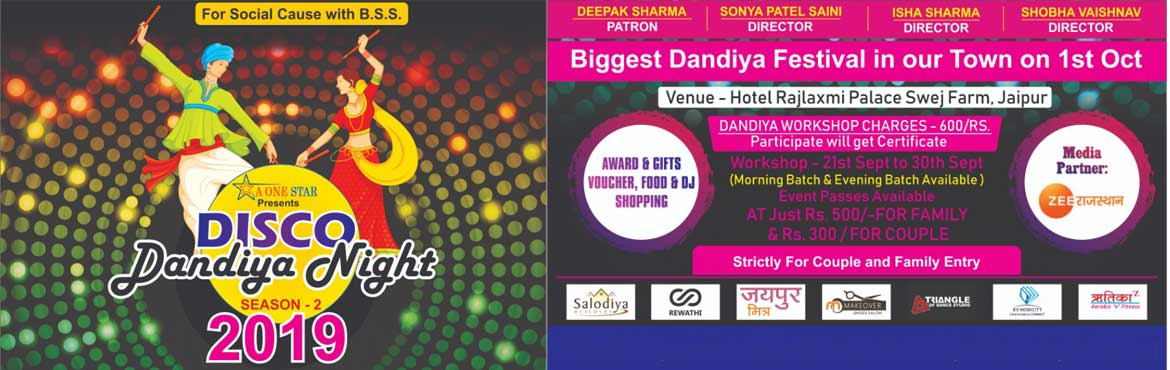 Book Online Tickets for Disco Dandiya Night - Season 2 By - A On, Jaipur.  Welcome to Disco Dandiya Night - Season - 2 EVENT DETAILS : Venue: HOTEL RAJLAXMI PALACE, SWEJ FARMDate: 01-Oct-2019Time: 6 PM OnwardAward and Gifts Workshop: 21-Sep to 30 Sep. NO STAG ENTRY ALLOWED. Join us for Disco Dandiya Night 2019 with An