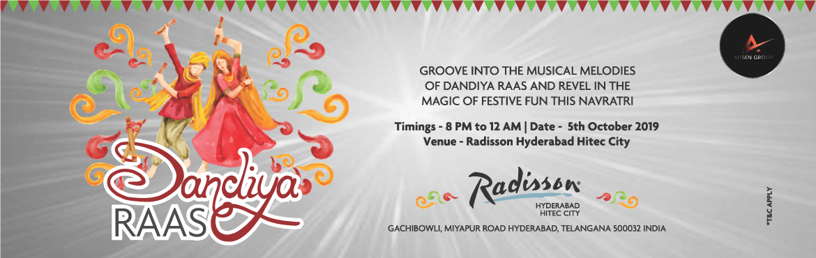 Book Online Tickets for Dandiya Raas at Radisson, Hyderabad. As Navartri approaches the city of hills shines in its colourfull image. The festivities bear ample testimony of culture as being hosted by Radisson Hit-Tec Hyderabad on 5th October. We invite you to this excellent and mesmerizing event fuelled by co